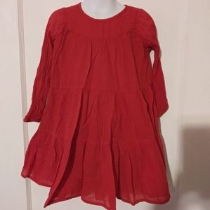 EUC Old Navy Girle Red Gauze Tiered Dress